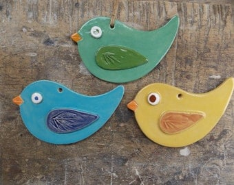 Ceramic handmade bird decorations
