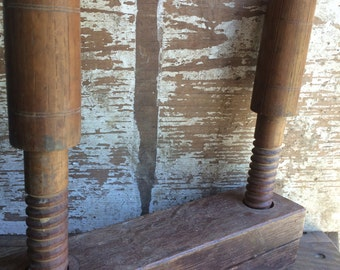 Vintage wood double screw vice