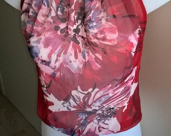 Little flowery top red, transparent, Bohemian chic