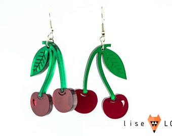 Lasercut Plexiglass Cherry Fruit Earrings Semi Transparent