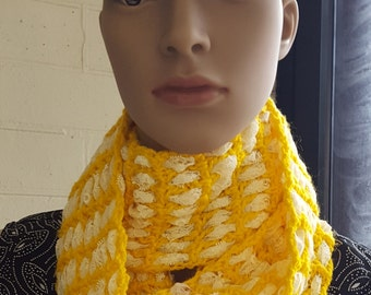 Crochet and Lace Infinity Scarf,  Yellow Scarf with White Lace, Circle Scarf, Woollen Scarf, Infinity Cowl, Yellow Scarf