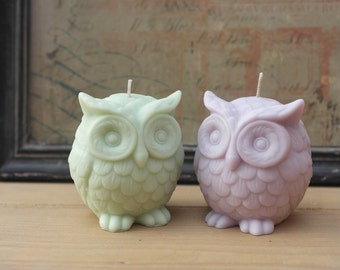 Soy Owl candle-eco natural soybean, wooden coaster,