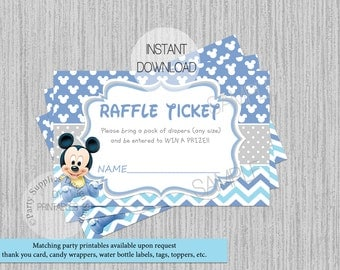 Baby Mickey Mouse Baby Shower Diaper Raffle Tickets, INSTANT DOWNLOAD, DIY Party Printable, Baby Mickey Baby Shower Supplies, Invite Inserts