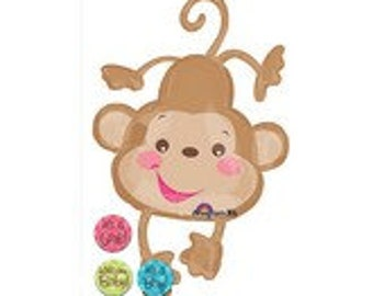 FAST SHIP Jumbo Baby Monkey Baby Shower Balloons, Monkey Party Balloons, Zoo Animals Foil Balloons, Cute Monkey Party Supplies