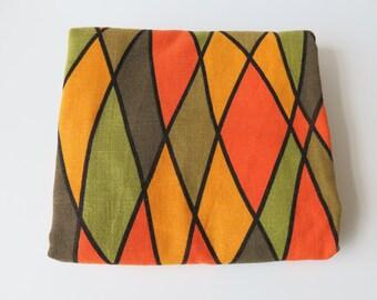 Vintage Upholstery Fabric Bright Orange Yellow Green Pattern