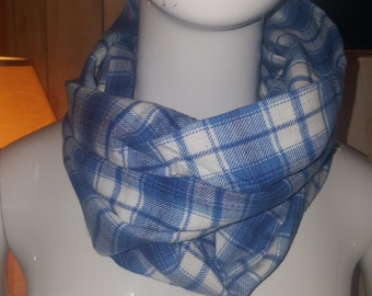 Plaid scarf,Eternity scarf,  Infiniti scarf, blue scarf, white scarf, women's accessories, men's accessories, accessories, gift idea