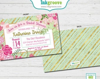 Mint & Gold Bridal Shower Invitations