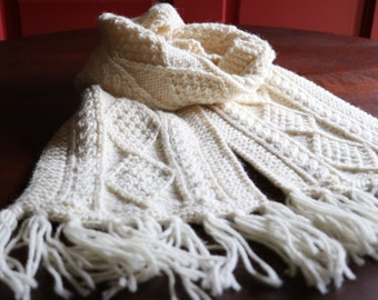 Vintage Irish winter white scarf, fisherman's scarf, made in Ireland, cable knit, 100% wool scarf, hand knit scarf