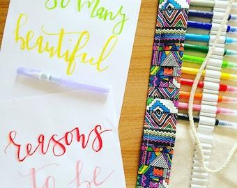 Calligraphy paper design with watercolor brush-custom design