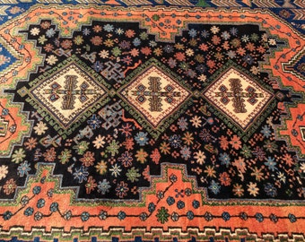 "Persian Rug Hand-Knotted Afshar (Burnt Red, Sienna, Navy Blue, Green, Black) 221cm x 170cm (7'3"" x 5'6"")"