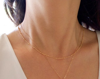 Delicate Satellite Chain Necklace//Beaded Satellite Chain//Simple//14k Gold Fill, Rose Gold, Sterling Silver//Layering Necklace//Everyday