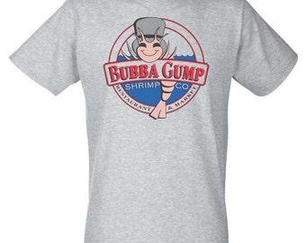 Grey T-Shirt with Bubba Gump Shimp Circular Design - Tom Hanks Forest Gump