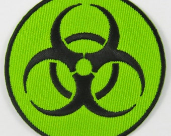 Biohazard Symbol/Sign (Green) Iron On/ Sew On Embroidered Cloth Patch Badge Appliqué cybergoth cyber punk goth rocker emo rave Size: 6.8cm