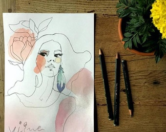 Woman with magnolia - original illustrations, posters