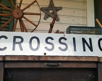 VINTAGE - Aluminum Reflective Crossing sign from real Crossbuck Rail Road Crossing sign. Dad, Construction, Industrial, Top Seller, Popular