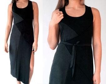Long Black Dress / Asymmetric Minimalist Black Dress / Sleeveless Wrap Front Dress / Women's Elegant Summer Maxi Slit Dress / Anglesia Black