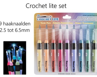 Crochet needles lite, needles with a light, needle with light. Crochet lite set.