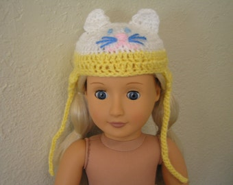 Meow Kitty Hat---Whimsical Critter Hat Crocheted for American Girl and Similar 18-inch Dolls, Cat Hat, Costume,