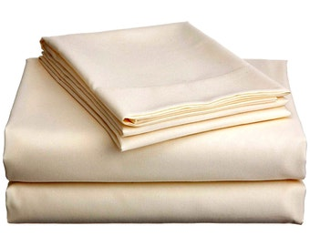 Sateen (100% cotton) fitted bed Sheet (yellowish)