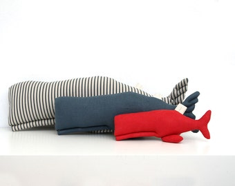 Cachalots Family/ Blue Stripe, Denim and Red/Sperm Whales/Father, Mother and Baby Whales/Decorative Whales