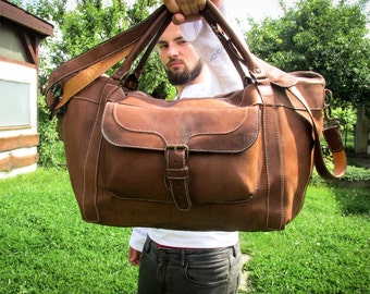 Handmade Leather Travel Bag / Matte Leather Duffle Bag / Leather Overnight Bag / Leather Travel Bags For Men / Brown Leather Duffle Bag