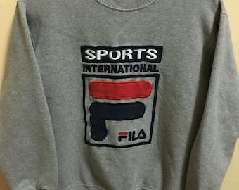 Vintage 90's Fila International Italy Sport Classic Design Skate Sweatshirt Sweater Varsity Jacket Size L #A359
