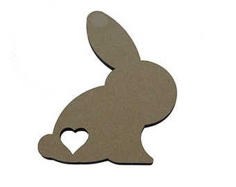 10 * Rabbit Shape 4cm - 10cm With Heart Cutout, Cutew Bunny With Or Without Hanging Hole