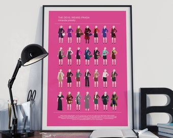 The Devil Wears Prada 'Miranda Priestly' all looks, Meryl Streep, Minimalist Movie poster, fashion pink print, Prada Gift for gay friend