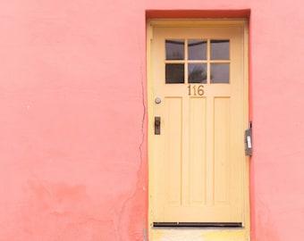 Yellow Door, Pink Adobe, Desert, Peach, Tucson, Barrio Viejo, Doortrait, Door Pictures, Arizona, Fine Art, Wall Art, Photograph, Print