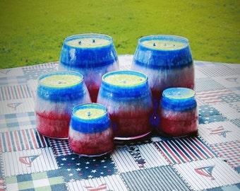 Patriotic citronella palm wax candles