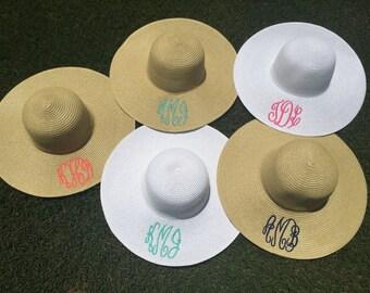 Floppy hat / monogram Durby Hat / Monogram sun hat / monogram straw hat
