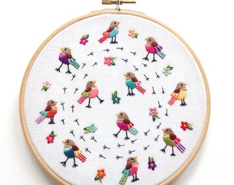 Hand Embroidered Framed Hoop 'Walking and Talking'