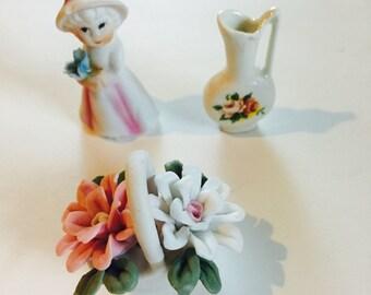 Vintage doll miniatures figurine set