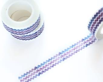 Watercolor Purple Chevron Washi Tape 15mm/ Masking Tape/ Pastel Purple Washi Tape