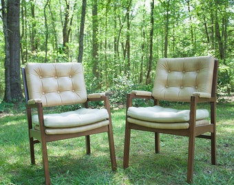 Walnut Hon Chairs with Original Upholstery