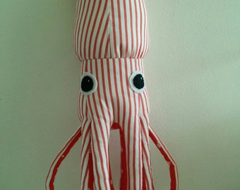 Red and White Squishy Squid