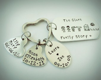 Hand stamped personalised family story keyring