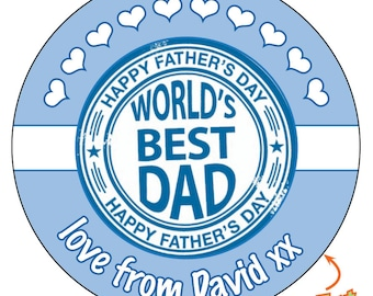 Personalised Worlds Best DAD Fathers Day Stickers Favours - VARIOUS SIZES - 732