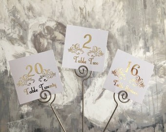 Wedding table numbers, gold wedding decorations, table decor