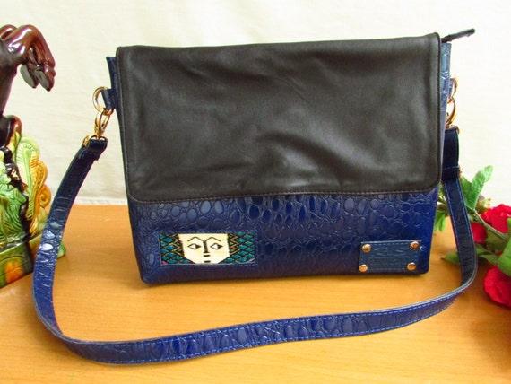 crocodile print leather, soft sheep leather, flap Cross Body Bag, Messanger Bag, Shoulder Bag, Blue crossbody, women side bag
