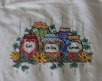 Hand Embroiderd Apron-Eat, Drink, Laugh