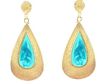 Drop earrings-blue