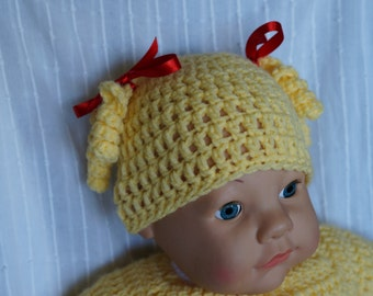 Crocheted hat, pigtail hat, baby girl hat