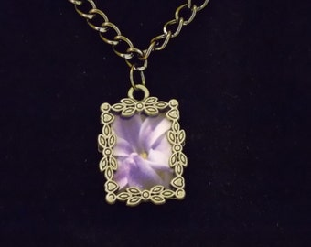lilac photo necklace