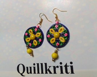 Multicolored Paper Quilled earrings from Quillkriti,
