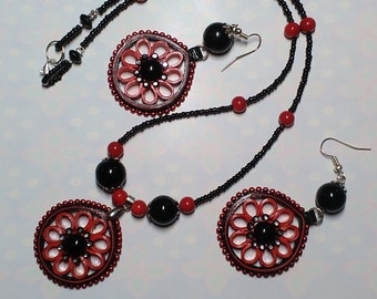 Red and black Paper Quilled pendant set with earrings from Quillkriti