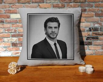Liam Hemsworth Cushion Pillow - Pop Art - Silver Grey - 100% cotton - 16x16 inches