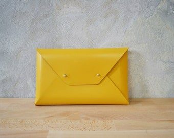 Mustard yellow leather clutch bag / Envelope clutch / leather bag available with wrist strap / Genuine leather / Leather bag