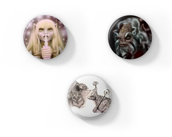 Set (3) Dark Crystal Fan Art Button Magnets or Pins of Illustrations by Jess Kristen