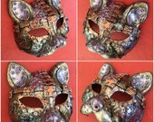 """5"""" Steampunk Pink cat Mask, Halloween Costume Mask, Industrial Kitty"""